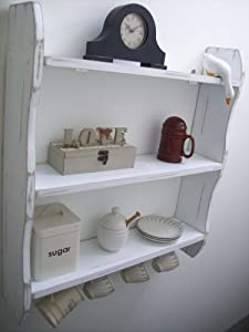 large 70cm white shabby chic kitchen shelves with cup. Black Bedroom Furniture Sets. Home Design Ideas