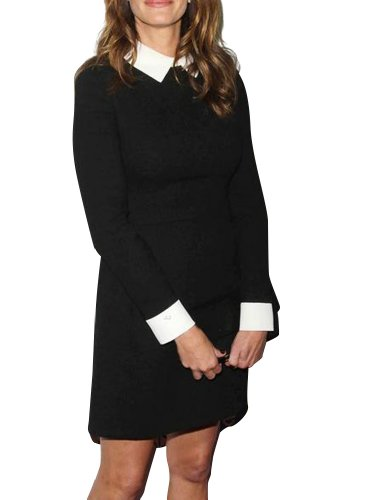 Keral Long Sleeve Turndown Collar Slim Kneelength Dress_Black_S Picture