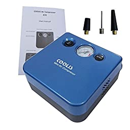 COOLIS 12V Tire Inflator,150PSI Max Pressure Portable And Easy Operation Air Compressor,With Spare Part For All Car,Bike,Balls,A70 Blue