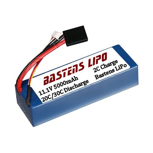 Bastens 3S 11.1v hardcase 5000mAh 3 cell LiPo battery upgrade for the Traxxas 2x4 4x4 VXL Raptor Stampede - Rustler - Bandit - Slash - XO-1 - 1/10 E-Revo Brushless - E-Maxx Brushless - a must upgrade or a high capacity alternative replacement - battery expansion kit sold separately