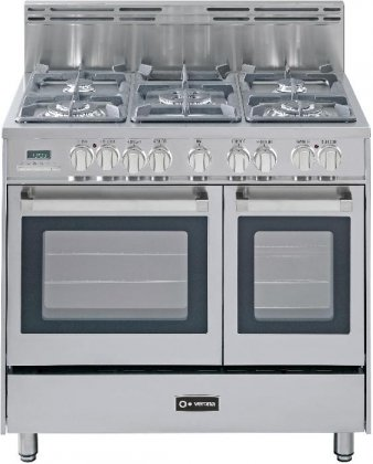"Verona Vefsge365Ndss 36"" Double Oven Dual Fuel Range With 5 Sealed Gas Burners In Stainless Steel"