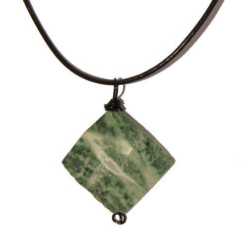 Jasper Necklace 03 Pendant Forest Green White Wavy Diamond Black Leather Crystal Healing Stone Reiki Rock 22