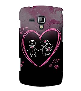 Cute Love Pair 3D Hard Polycarbonate Designer Back Case Cover for Samsung Galaxy S Duos S7562