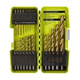 Ryobi A972101 21 Piece Titanium Drill Bit Set w/ Plastic Locking Storage Case and Foldout Rubberized Organization Solution