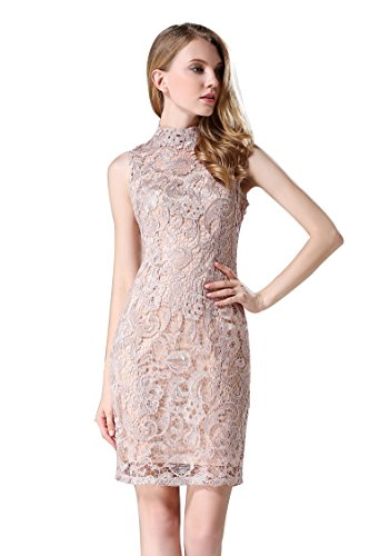 Little-Smily-Womens-Crochet-Lace-Form-Fitting-High-Neck-Cocktail-Bodycon-Dress