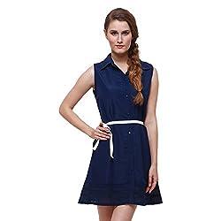 Oshea Women's Crepe Shirt Dress (Navy Blue)
