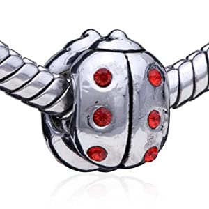 Authentic Pugster Red Crystal Ladybug Bead Charm Fits Pandora Charms Chamilia, Biagi Beads Bracelet