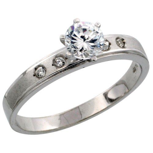 Sterling Silver Engagement Ring CZ Stones Rhodium Finish, 5/32 in. 4 mm, Size 8.5
