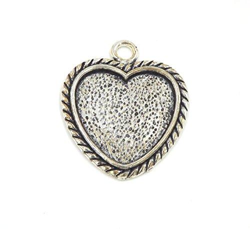 "10 Deannassupplyshop heart Pendant Trays - Antique Silver Color - 1 Inch - 25mm - Pendant Blanks Cameo Bezel Settings Photo Jewelry - Custom Jewelry Making - 1"""