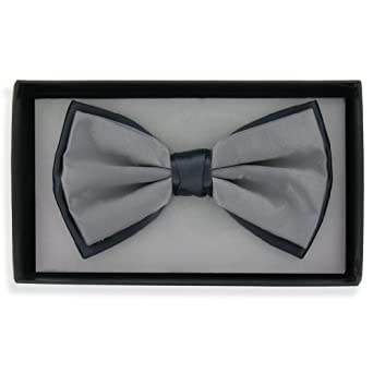 Mens Two Tone Bow Tie (Bt22) - Light and Dark Grey Two Tone Design Ready Tied Bow Tie