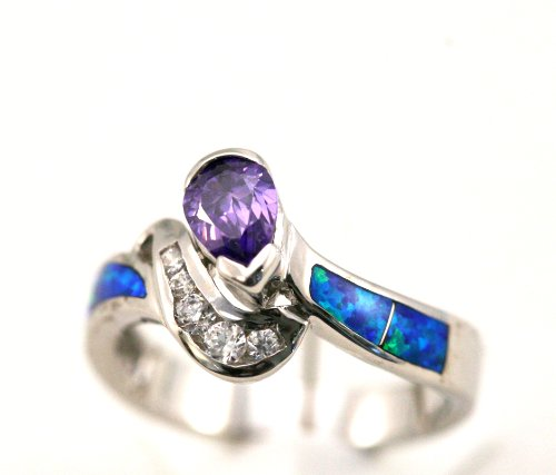 Sterling Silver 925 Inlayed Created Blue Opal, Synthetic Amethyst, and Cubic Zirconia Ring Size 8