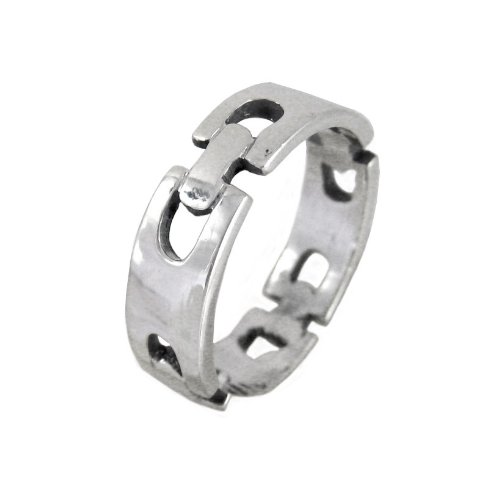 Sterling Silver Rectangular Chain Link Design Ring, Size 9