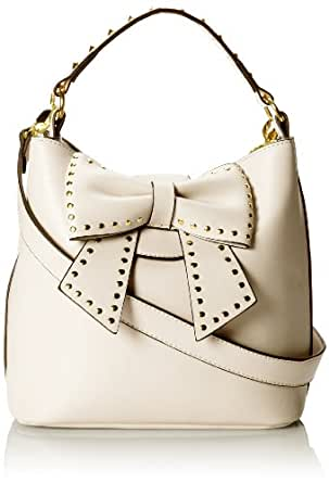 Betsey Johnson Hopeless Romantic Bucket Shoulder Bag,Cream Dot,One Size