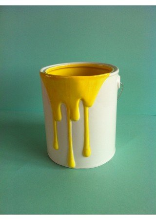 Plants Enhance Ceramic Paint Pot - Yellow