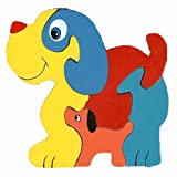 Traditional Wood'n'Fun: Baby/Toodler Wooden Colourful Dog & Puppy Jigsaw/Puzzle
