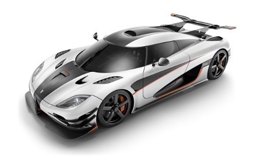 Koenigsegg Agera One:1 (2014) Car Art Poster Print on 10 mil Archival Satin Paper White/Black Front Side Tilt Studio View 24