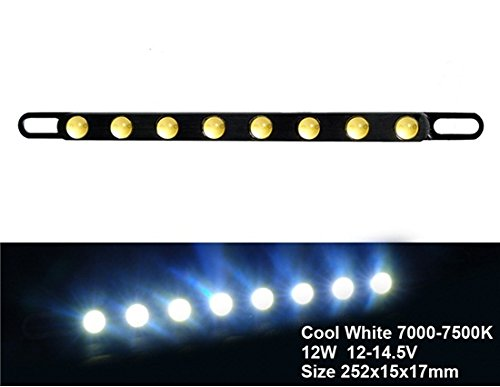 12V 12W Diy 8Xcob 7000-7500K White Light Led License Plate Light (Black)