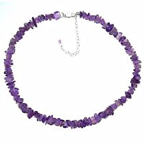 Sterlling Silver Genuine Amethyst Crystal Chip Stone Necklace