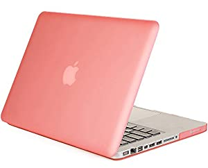 """Mosiso - Pink Rubberized 13-inch Hard Case Cover for Apple MacBook Pro 13.3"""" (A1278 with or without Thunderbolt) Aluminum Unibody with CD-ROM Drive (PINK)"""