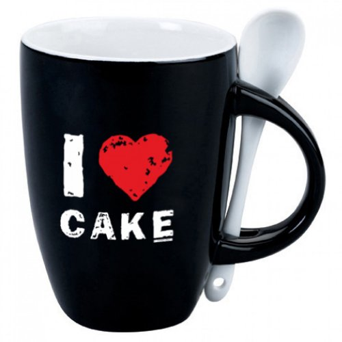 I Heart Cake Mug with Spoon