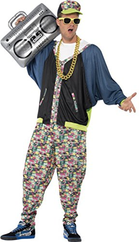 Men Adults Fancy Dress 1980's Party Hip Hop Rapper Costume Rockstar Outfit (1980 Fancy Dress Outfits)