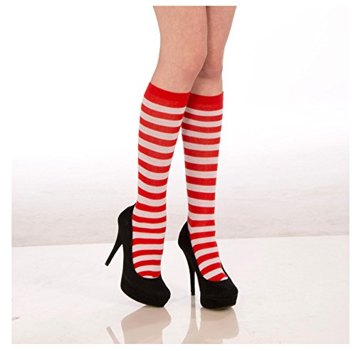 Adult/Child Striped Costume Knee Socks Red White