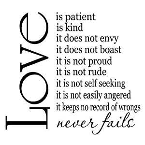 Amazon.com: Love is Patient Love is Kind 22x20 vinyl wall sayings