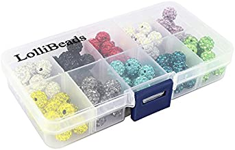 LolliBeads-100pcs 10 Color Mix Lot Top Quality Crystal Rhinestones Pave Clay Spacer Ball Beads 10mm