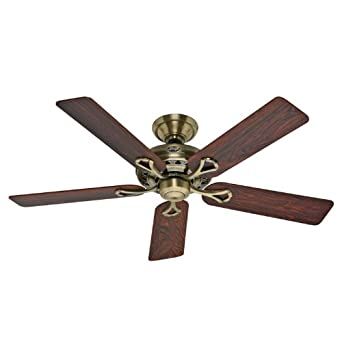 Hunter 20510 Savoy 52-Inch 5-Blade Ceiling Fan, Antique Brass with Rosewoood and medium Oak blades.