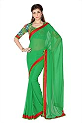 Anvi Green Faux Georgette designer saree with unstitched blouse (1734)