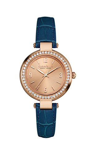 Caravelle New York Rose Gold Mini T Bar Women's Quartz Watch with Rose Gold Dial Analogue Display and Blue Leather Strap 44L178