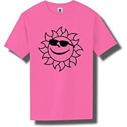 Sun w/ sunglasses Short Sleeve Bright Neon T-Shirt - 6 bright colors