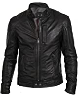 TLF The Leather Factory Men's Classic Black Real Leather Fashion Biker Jacket