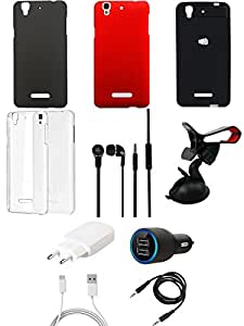 NIROSHA Cover Case Charger Headphone Mobile Holder Combo for YU Yureka Combo