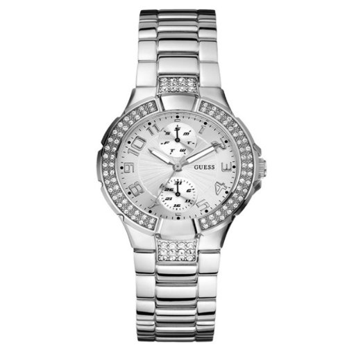 Guess Silver Coloured Stone Set Ladies Watch – W12638L1
