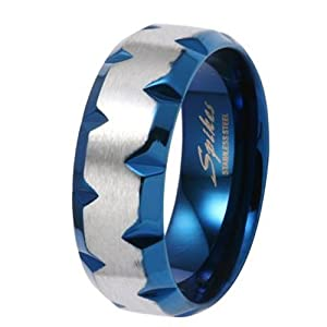 8MM High Polished Stainless Steel Ring with Blue Plated Faceted Edges For Men-Crazy2Shop