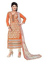 Orange Foliage Embroidered Chanderi Suit