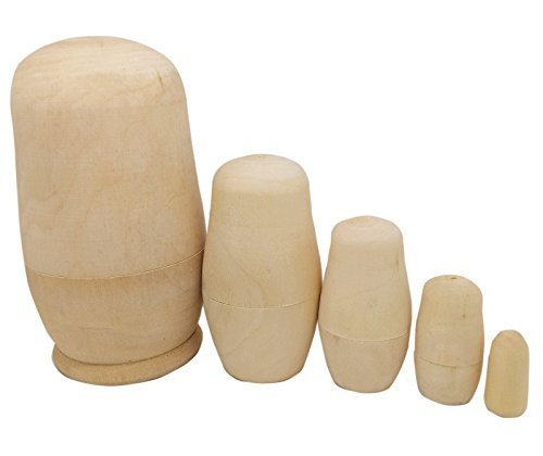 5inch Set of 5pcs Unpainted Russian Nesting Doll , Blank Doll , Make Your Own Doll