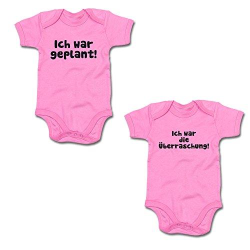 Ich war geplant! - Ich war die Überraschung! Twin-Set Baby Body Suit Strampler (250.0045) (50-56, babypink / babypink)