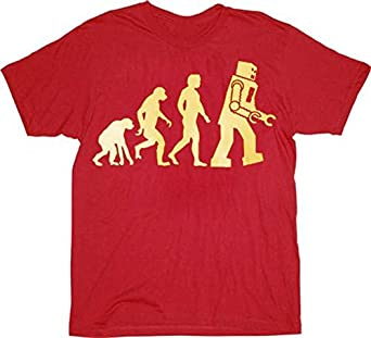 The Big Bang Theory Robot Evolution Red T-shirt Tee (Small) [Apparel]