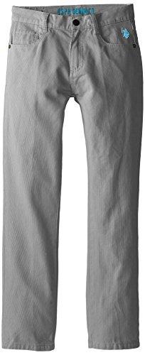 U.S. Polo Assn. Big Boys' Bedford Cord 5 Pocket Pants, Medium Grey, 12