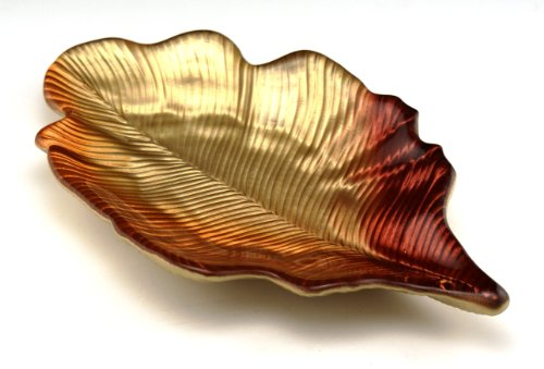 Arda Willow Leaf 6-1/2-Inch By 10-Inch Leaf Tray, Metallic Golden/Orange/Red, Set Of 2