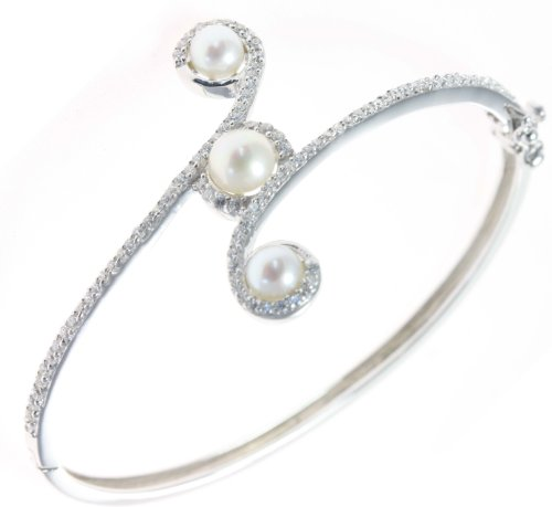 Classical 925 Sterling Silver Ladies Bangle with Cubic Zirconia/CZ, Pearl - 7cm*3mm