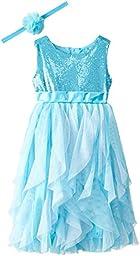 Disney Little Girls\' Frozen Queen Elsa Dress with Matching Tiara, Blue, 2T