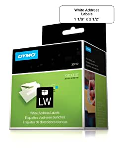 DYMO LabelWriter Self-Adhesive Address Labels, 1 1/8- by 3 1/2-inch, White,  2 Rolls of 350 (30252)