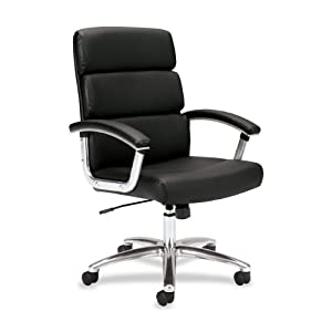 basyx by HON VL103 Mid-Back Leather Executive Task Chair for Office or Computer Desk, Black