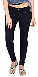 Carrel Bring In Bottom Zip Skinny Jeans Stretchable Denim Navy Blue Colour For Womens