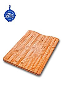 Blue Skillet Bamboo Cutting Board and Professional 3 Piece Knife Set