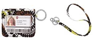 Vera Bradley Campus Double ID and Lanyard in Cocoa Moss