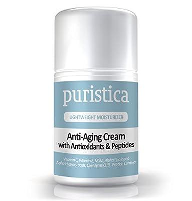 Anti-Aging Face & Eye Cream for Wrinkles, Puffiness, Dark Circles & Brighter Skin - 98% Natural, 72% Organic - Vitamin C & E, ALA, AHA, CoQ10, Peptides - Puristica